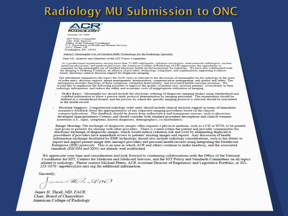 Radiology MU Submission to ONC
