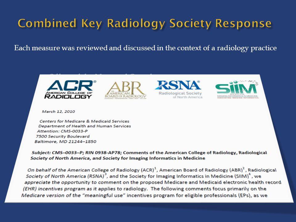 Combined Key Radiology Society Response