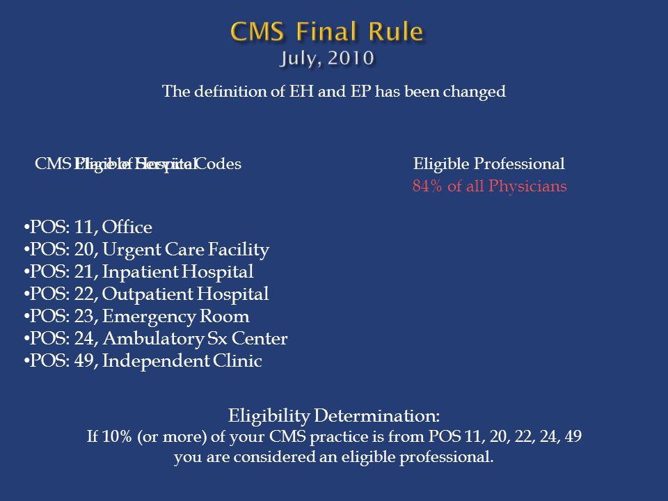 CMS Final Rule July, 2010 POS: 11, Office
