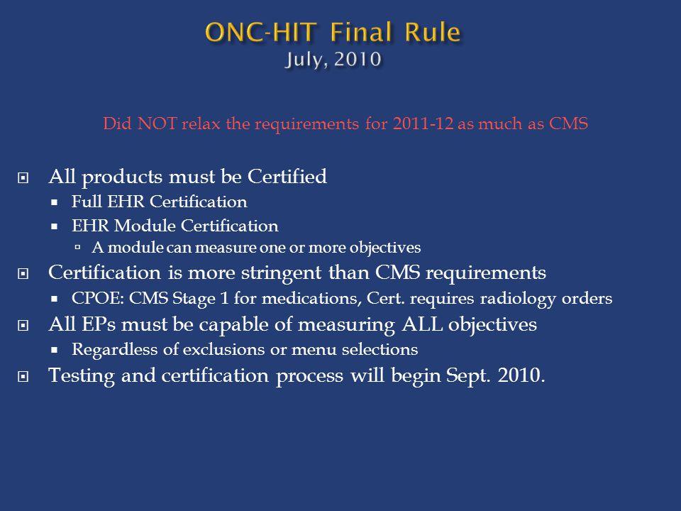 ONC-HIT Final Rule July, 2010