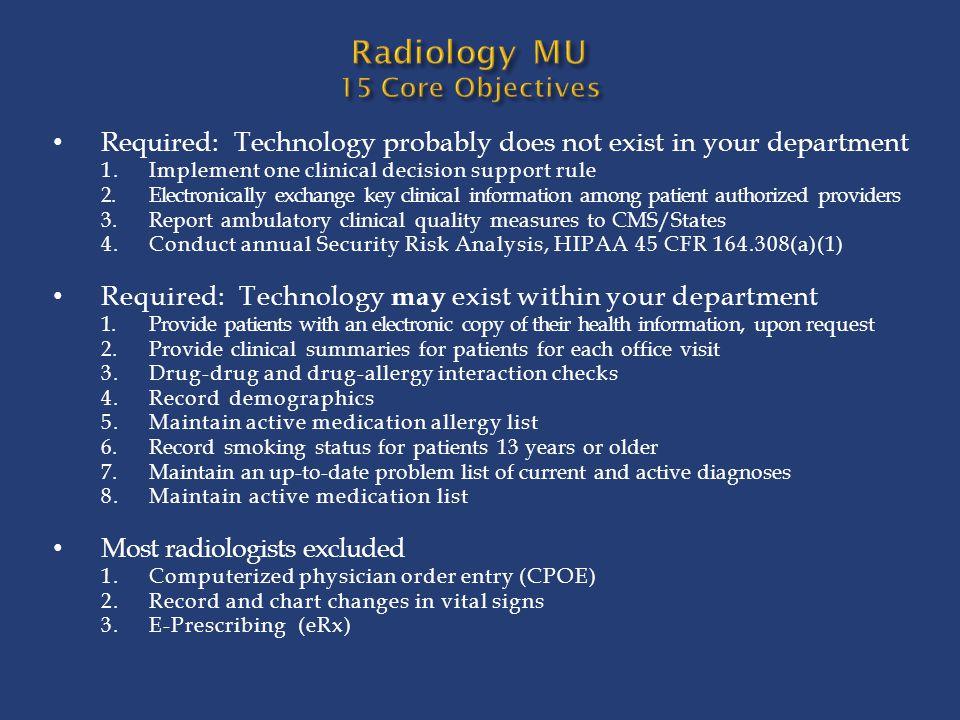 Radiology MU 15 Core Objectives