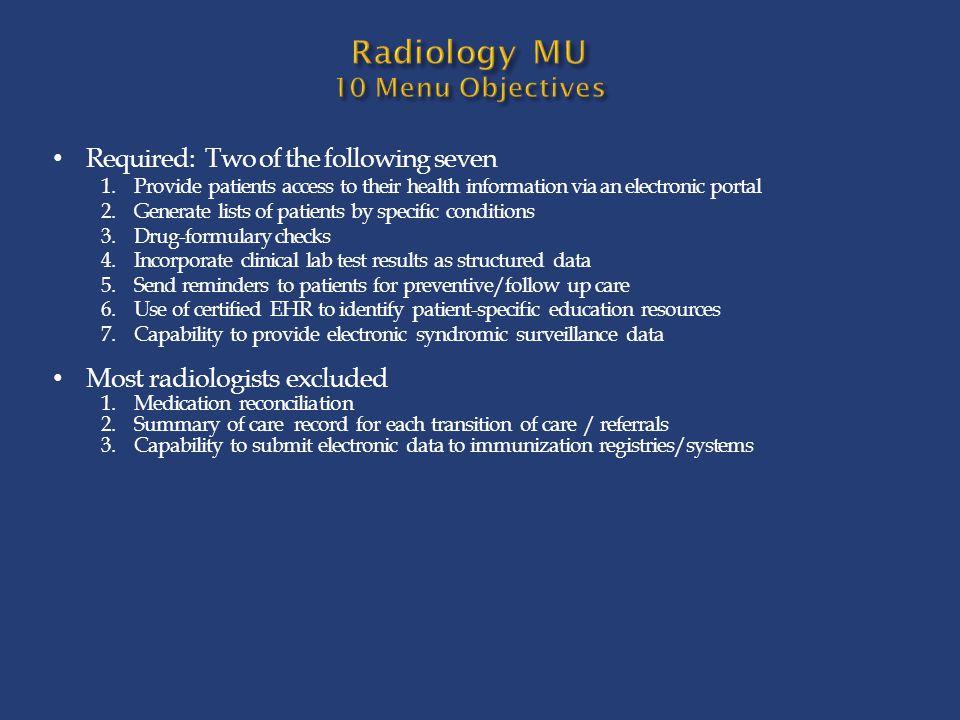 Radiology MU 10 Menu Objectives