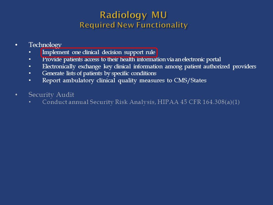 Radiology MU Required New Functionality