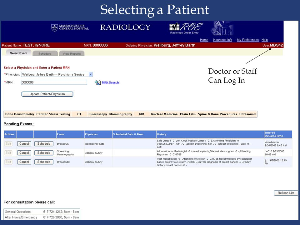 Selecting a Patient Doctor or Staff Can Log In Head CT Page1