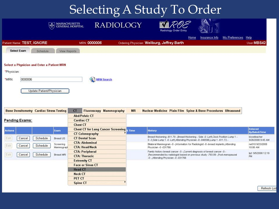Selecting A Study To Order