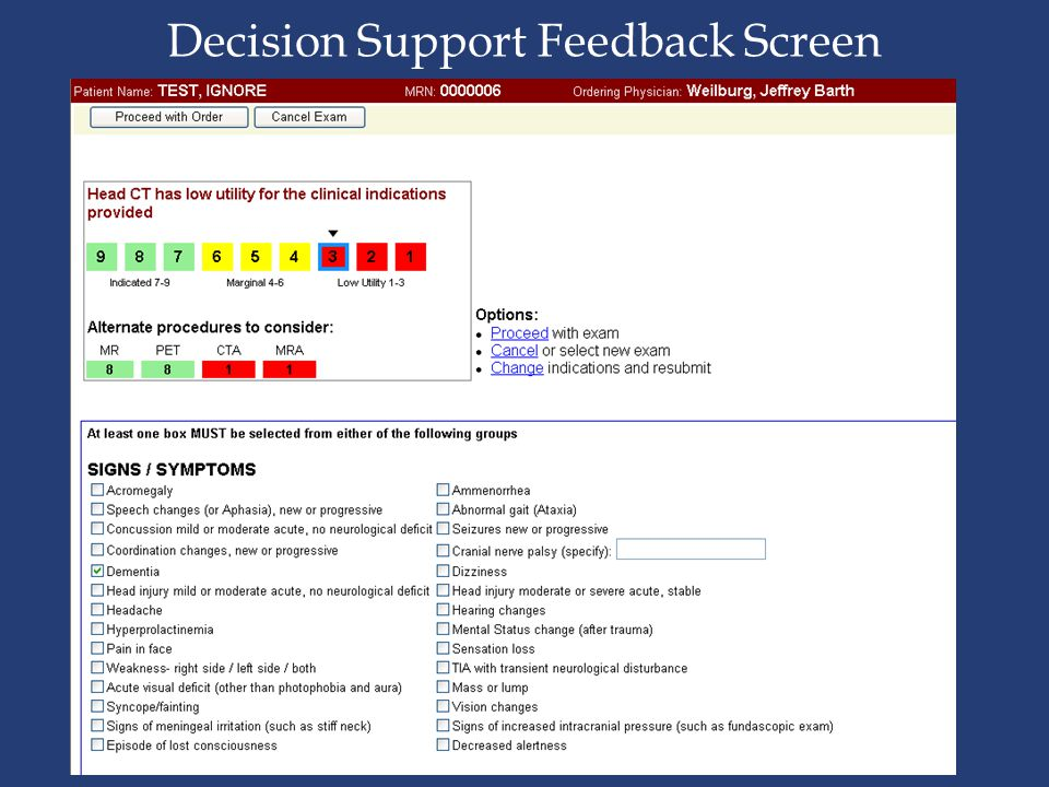 Decision Support Feedback Screen