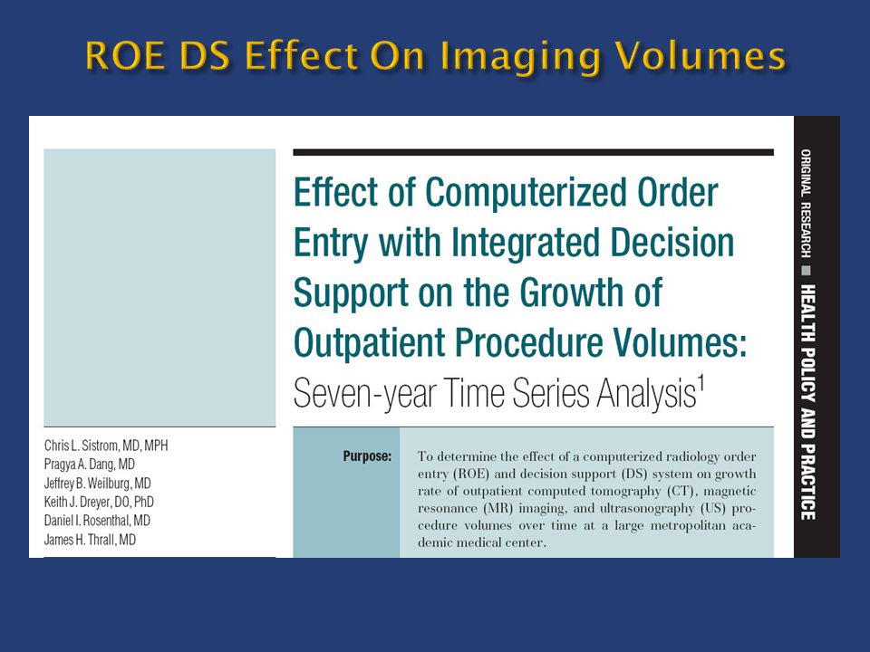 ROE DS Effect On Imaging Volumes