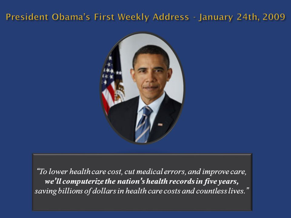 President Obama's First Weekly Address - January 24th, 2009