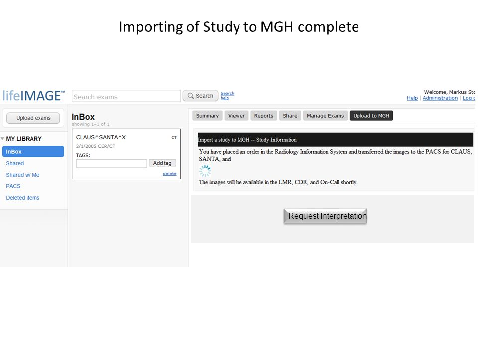 Importing of Study to MGH complete