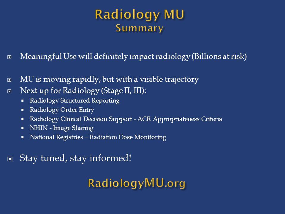 Radiology MU Summary RadiologyMU.org Stay tuned, stay informed!