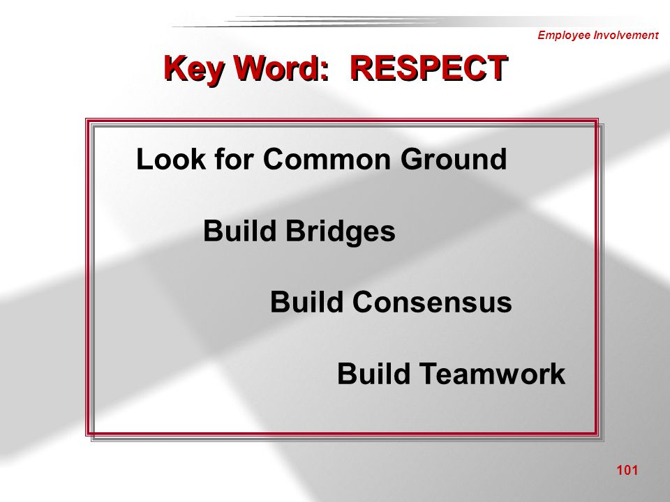 Key Word: RESPECT Look for Common Ground Build Bridges Build Consensus