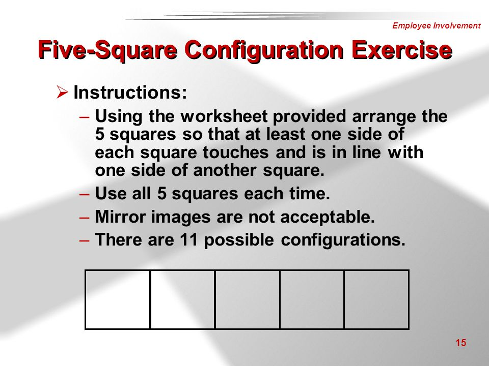 Five-Square Configuration Exercise