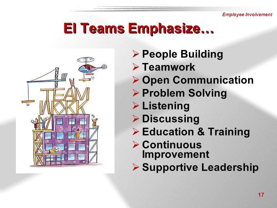 EI Teams Emphasize… People Building Teamwork Open Communication