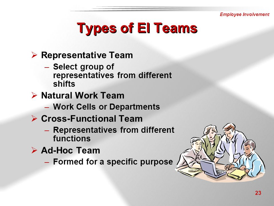 Types of EI Teams Representative Team Natural Work Team
