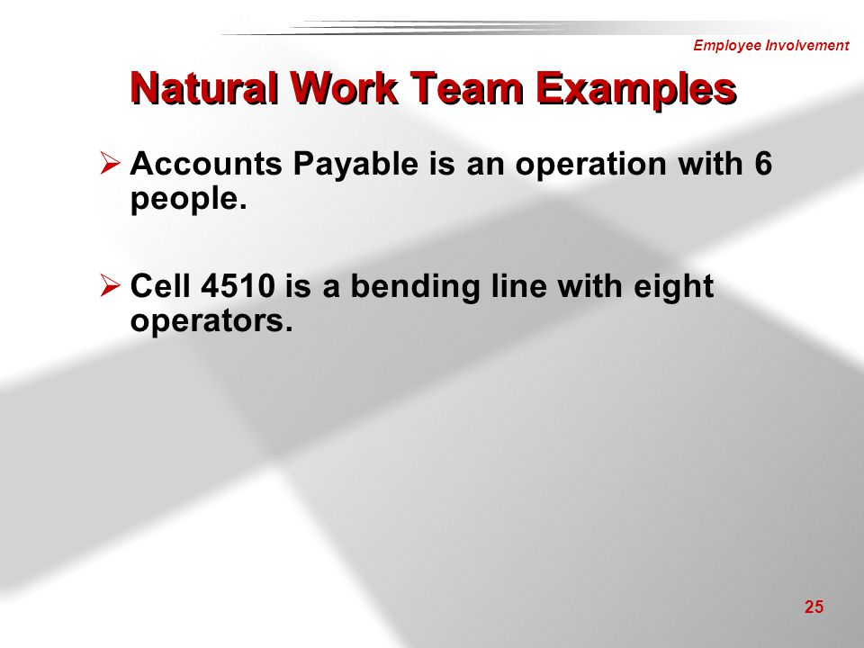 Natural Work Team Examples