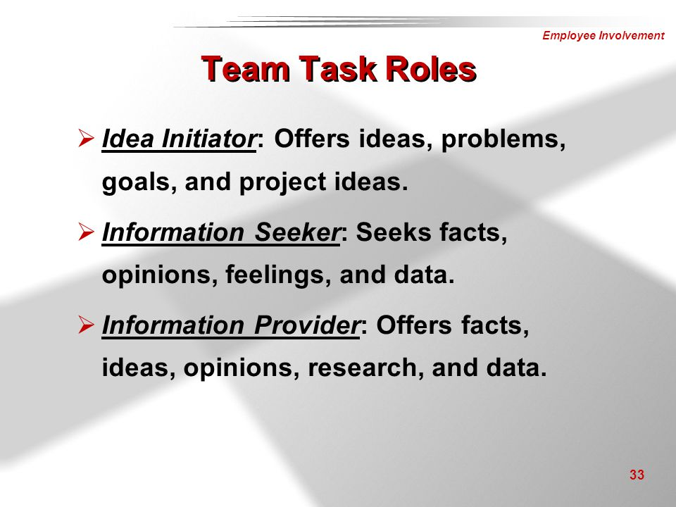 Team Task Roles Idea Initiator: Offers ideas, problems, goals, and project ideas. Information Seeker: Seeks facts, opinions, feelings, and data.
