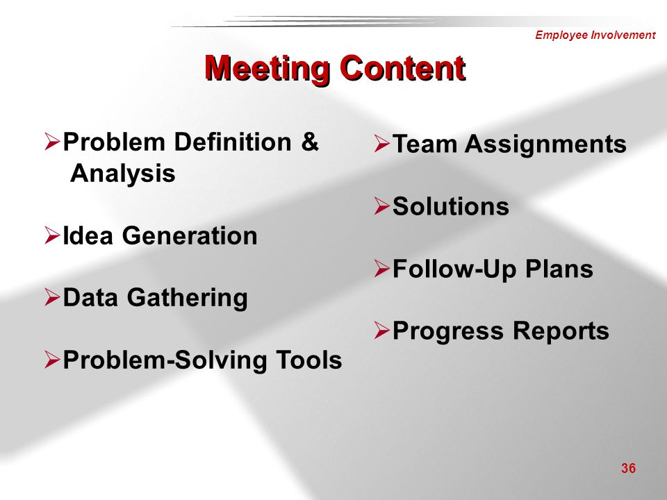 Meeting Content Problem Definition & Team Assignments Analysis