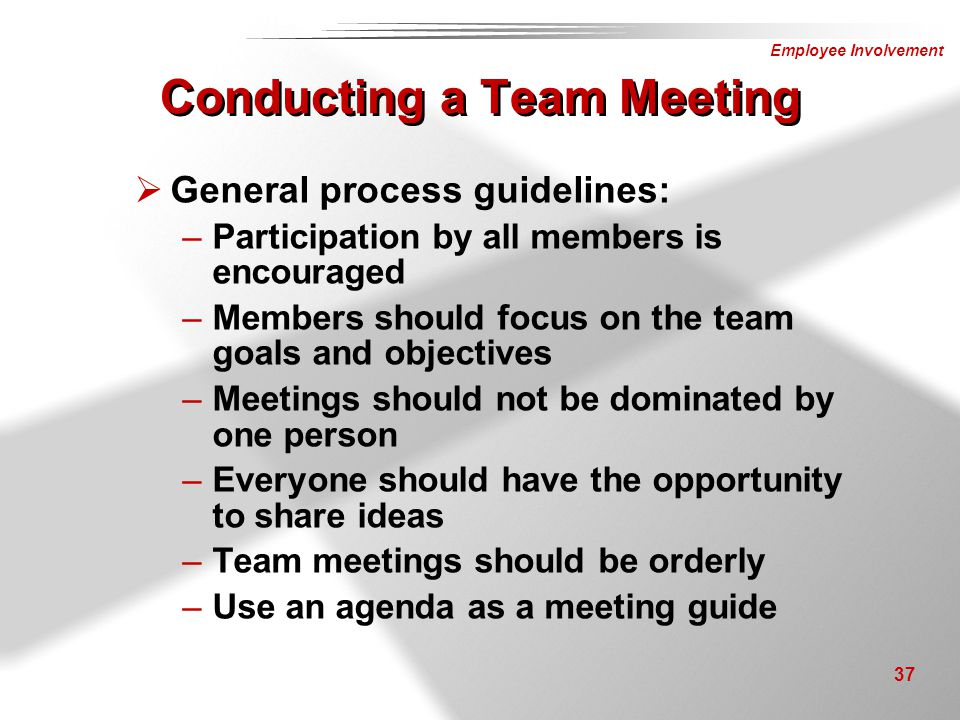 Conducting a Team Meeting