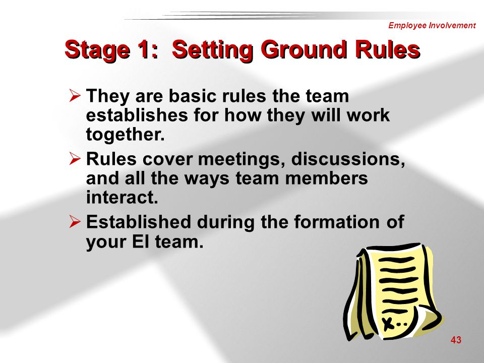 Stage 1: Setting Ground Rules