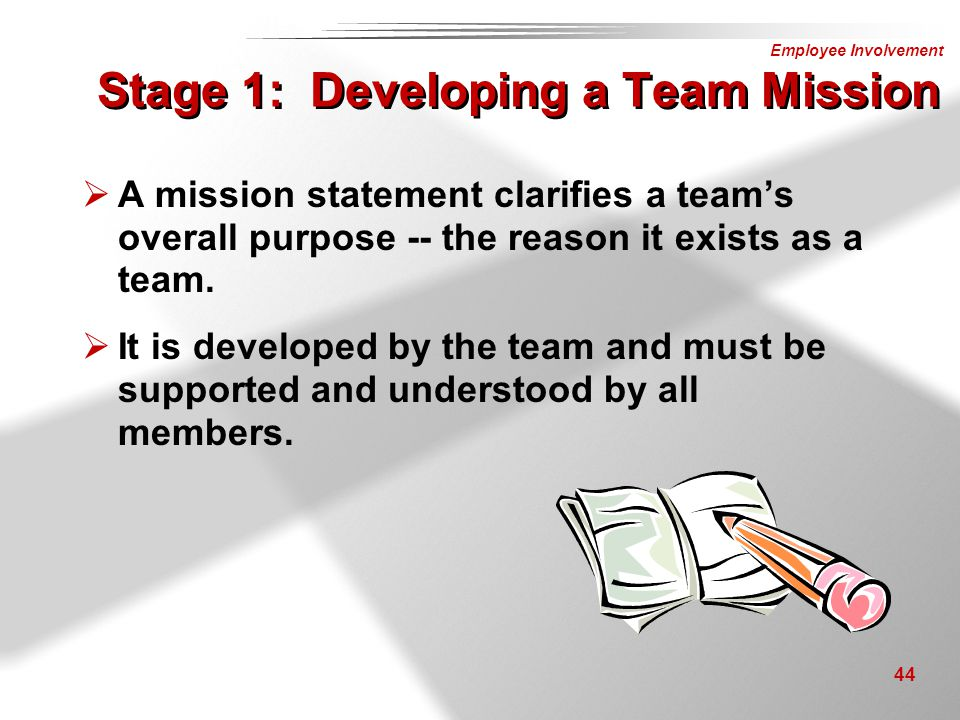 Stage 1: Developing a Team Mission
