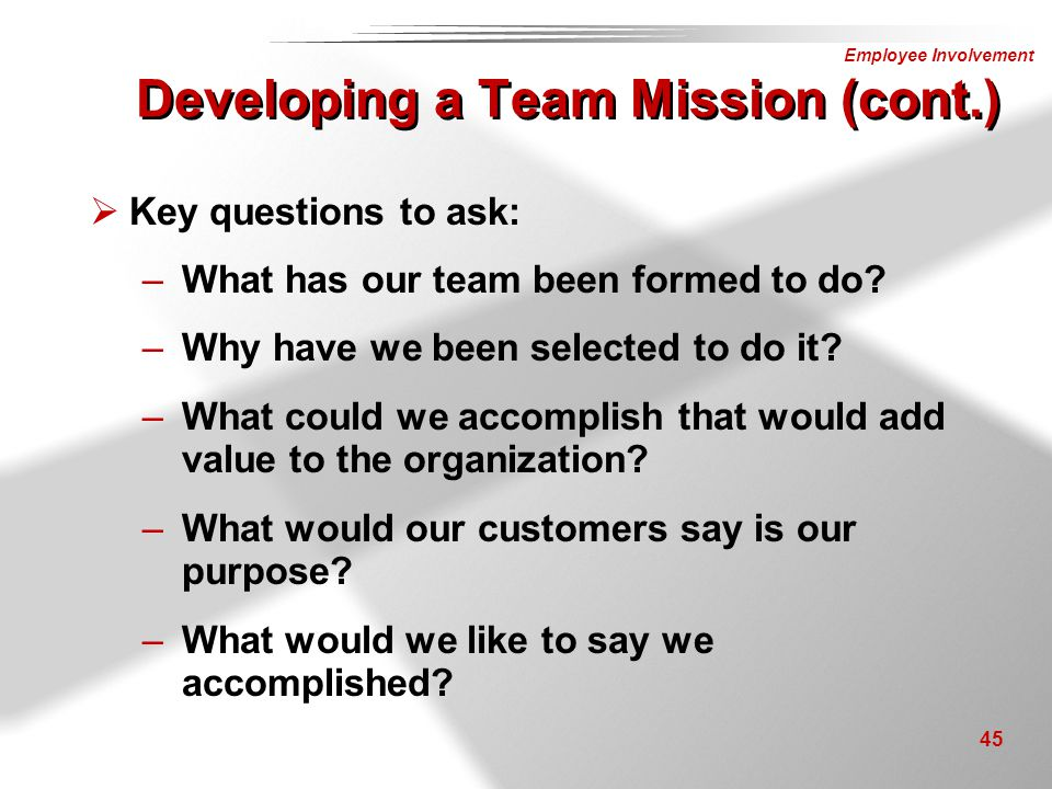 Developing a Team Mission (cont.)