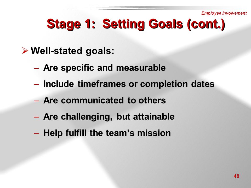 Stage 1: Setting Goals (cont.)