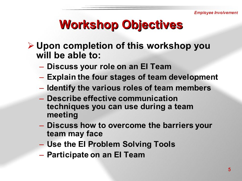 Workshop Objectives Upon completion of this workshop you will be able to: Discuss your role on an EI Team.