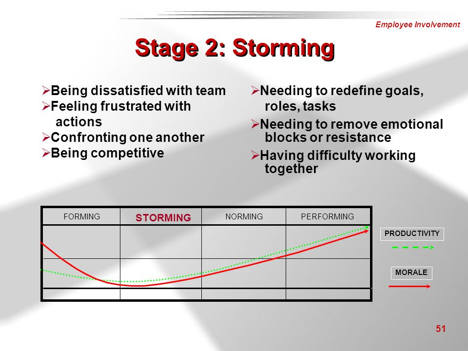 Stage 2: Storming Being dissatisfied with team