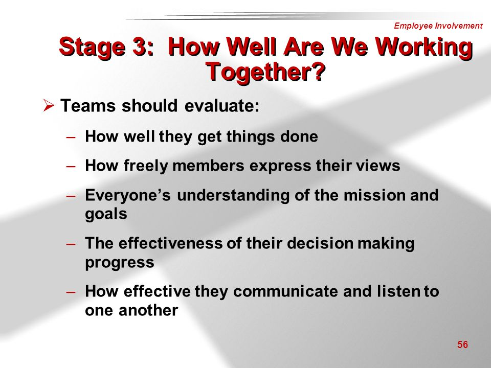 Stage 3: How Well Are We Working Together