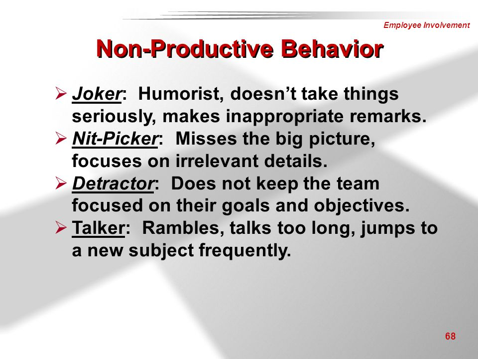 Non-Productive Behavior