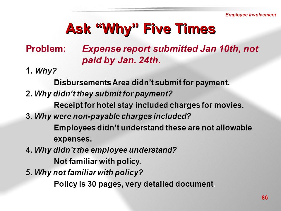 Ask Why Five Times Problem: Expense report submitted Jan 10th, not paid by Jan. 24th. 1. Why Disbursements Area didn't submit for payment.