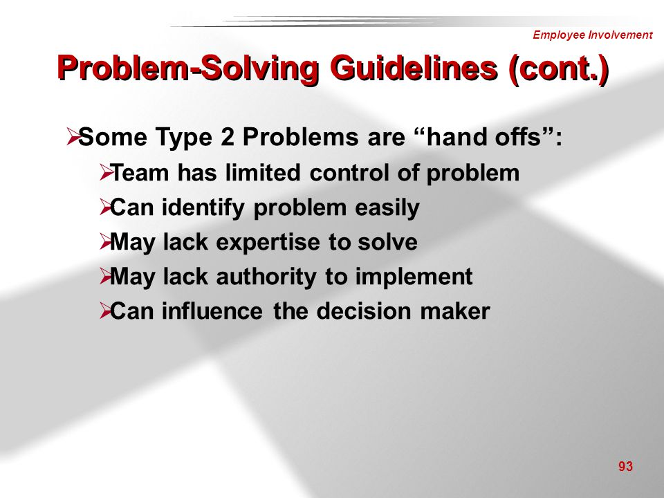 Problem-Solving Guidelines (cont.)