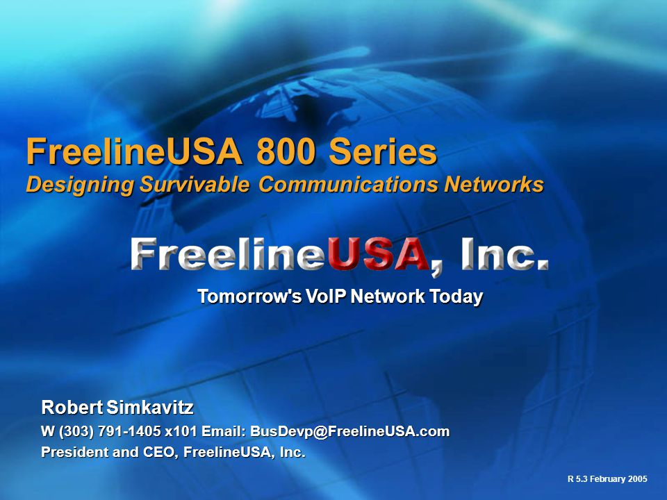 FreelineUSA 800 Series Designing Survivable Communications Networks