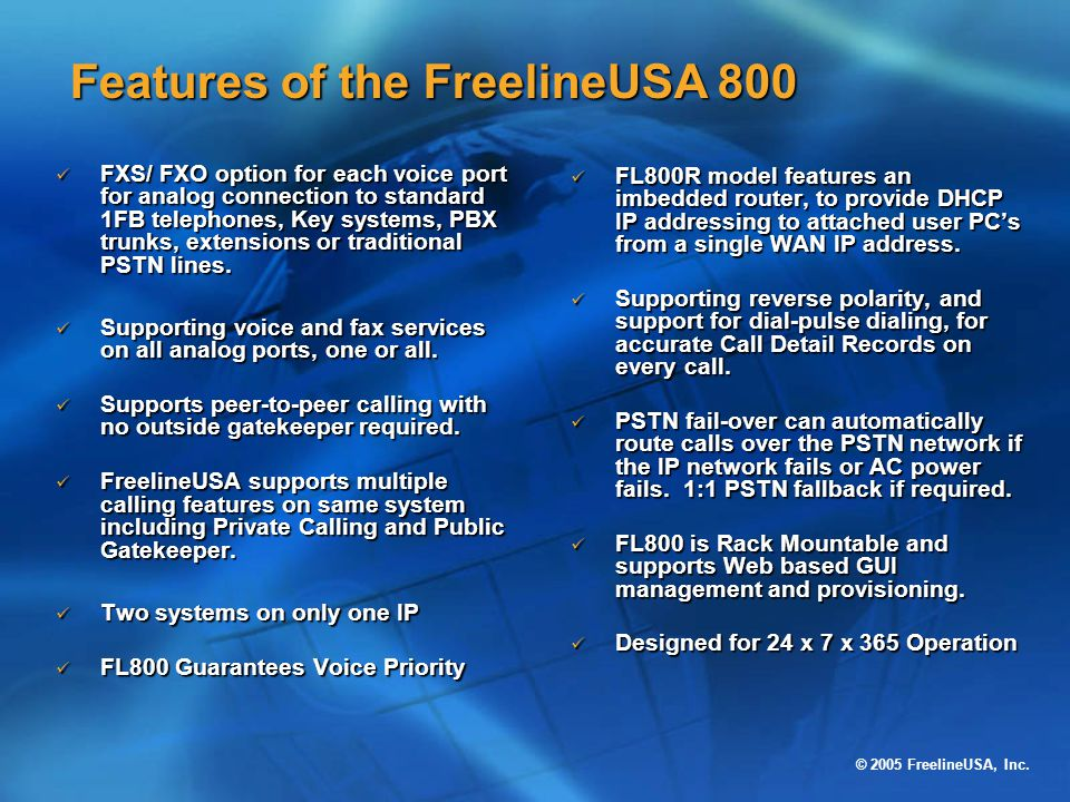Features of the FreelineUSA 800