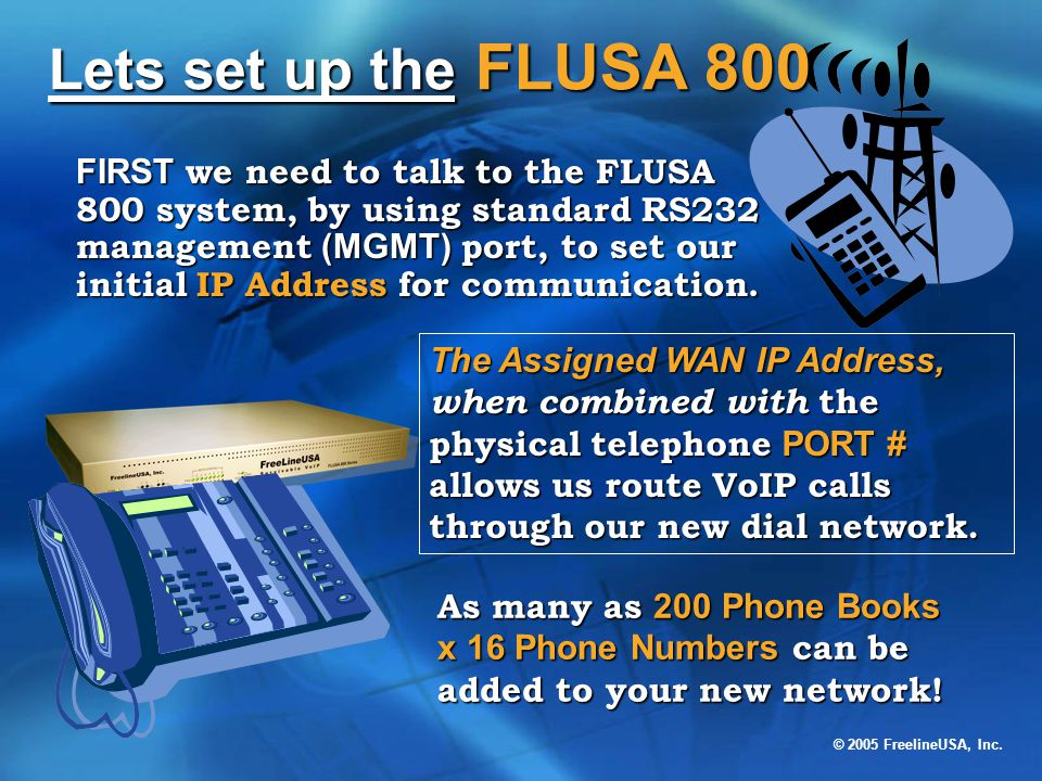 Lets set up the FLUSA 800
