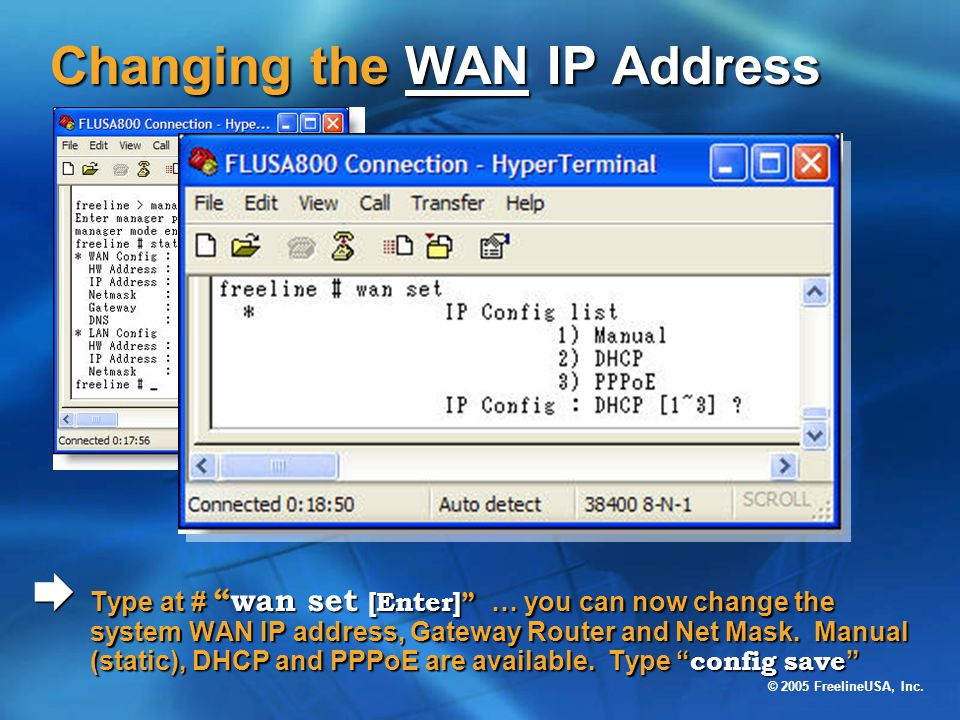 Changing the WAN IP Address
