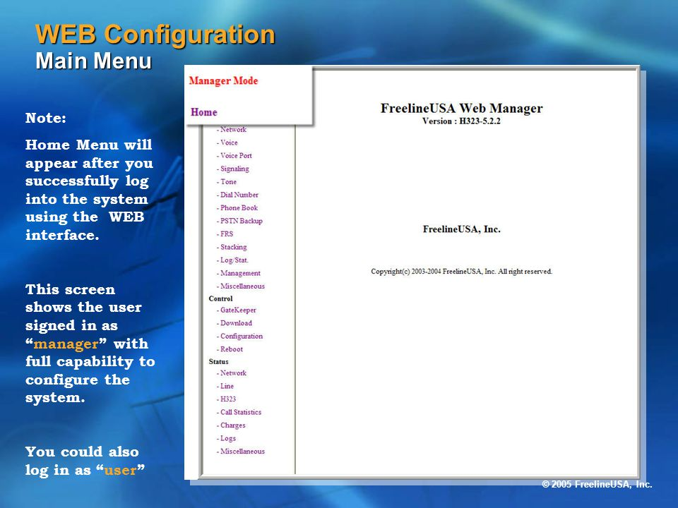 WEB Configuration Main Menu