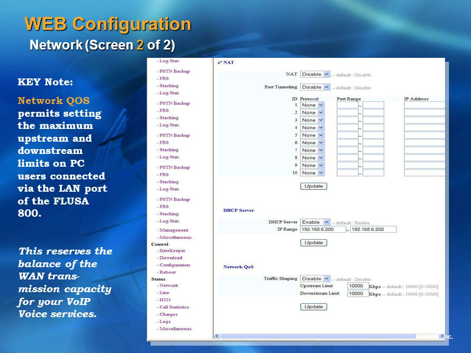 WEB Configuration Network (Screen 2 of 2)