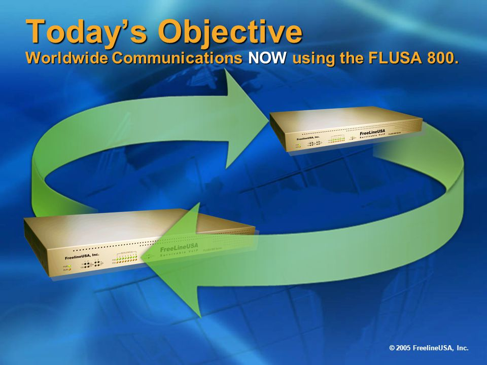 Today's Objective Worldwide Communications NOW using the FLUSA 800.