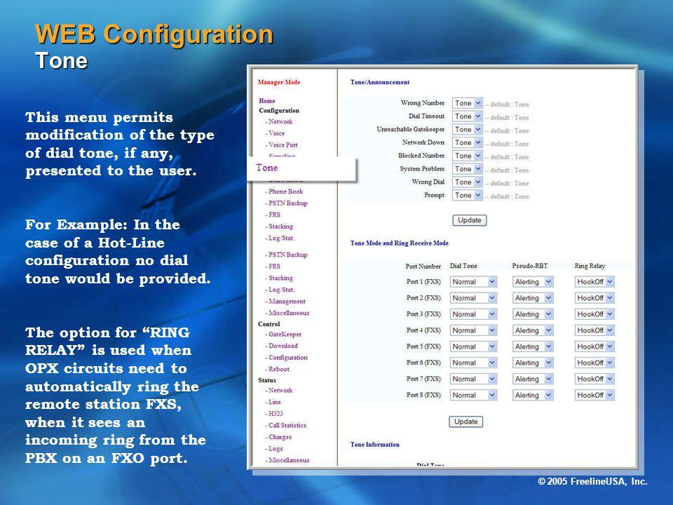 WEB Configuration Tone