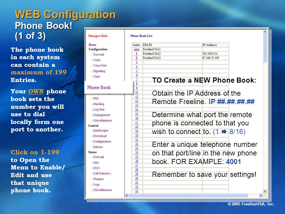 WEB Configuration Phone Book! (1 of 3)