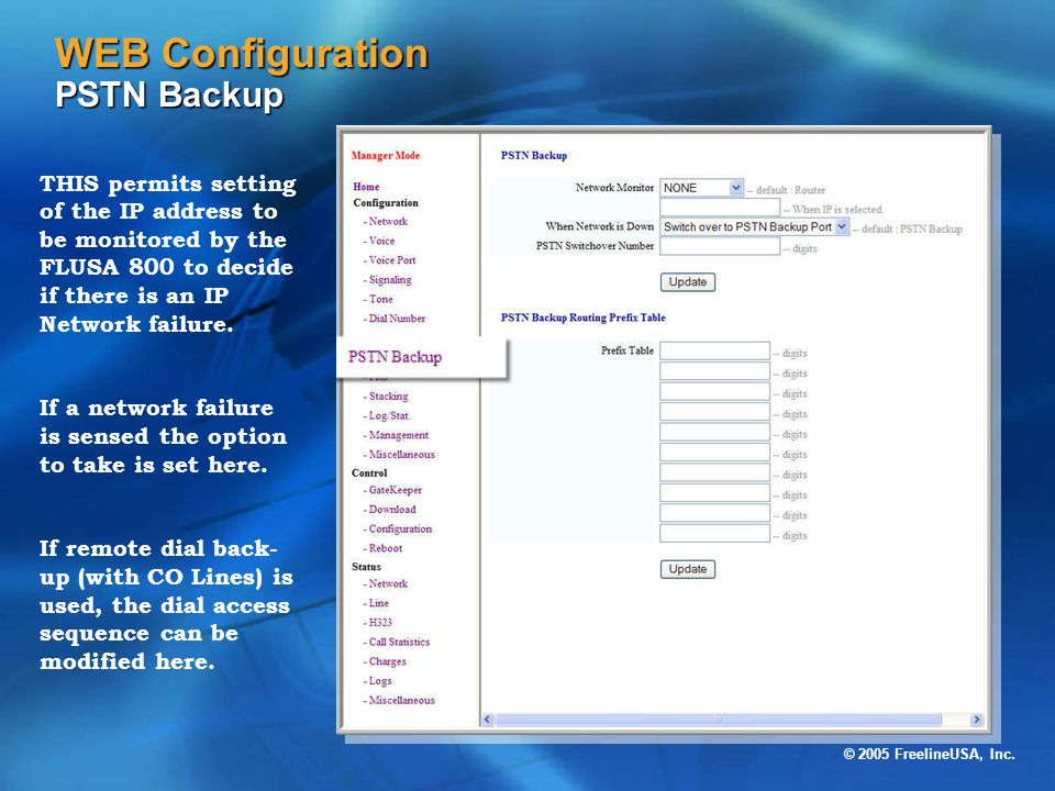 WEB Configuration PSTN Backup