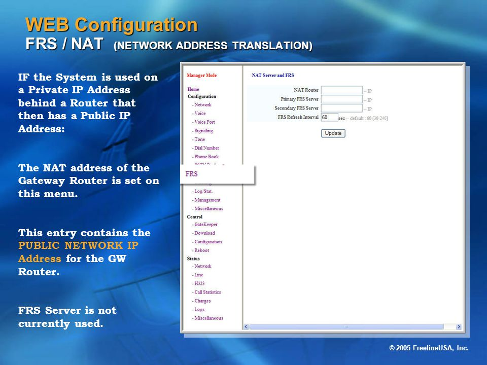 WEB Configuration FRS / NAT (NETWORK ADDRESS TRANSLATION)