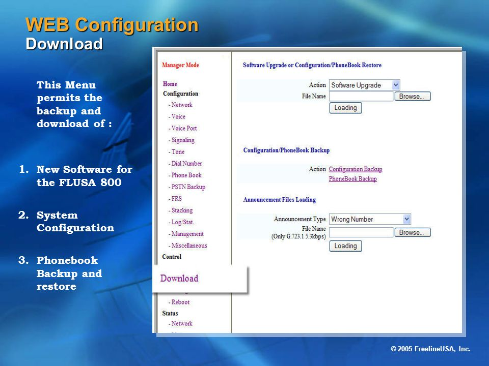 WEB Configuration Download