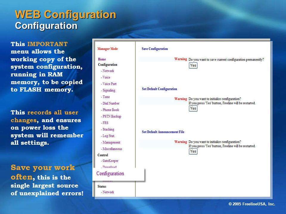 WEB Configuration Configuration