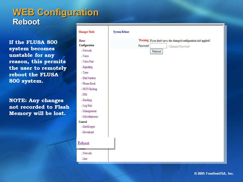 WEB Configuration Reboot