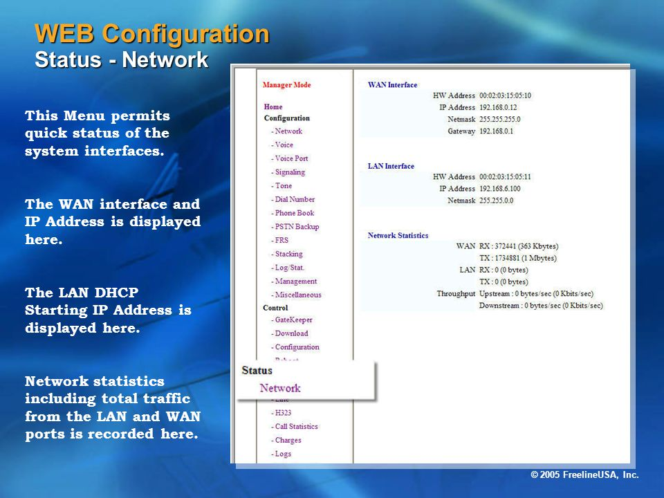 WEB Configuration Status - Network