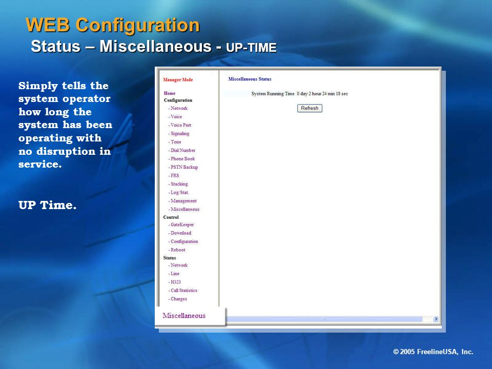 WEB Configuration Status – Miscellaneous - UP-TIME