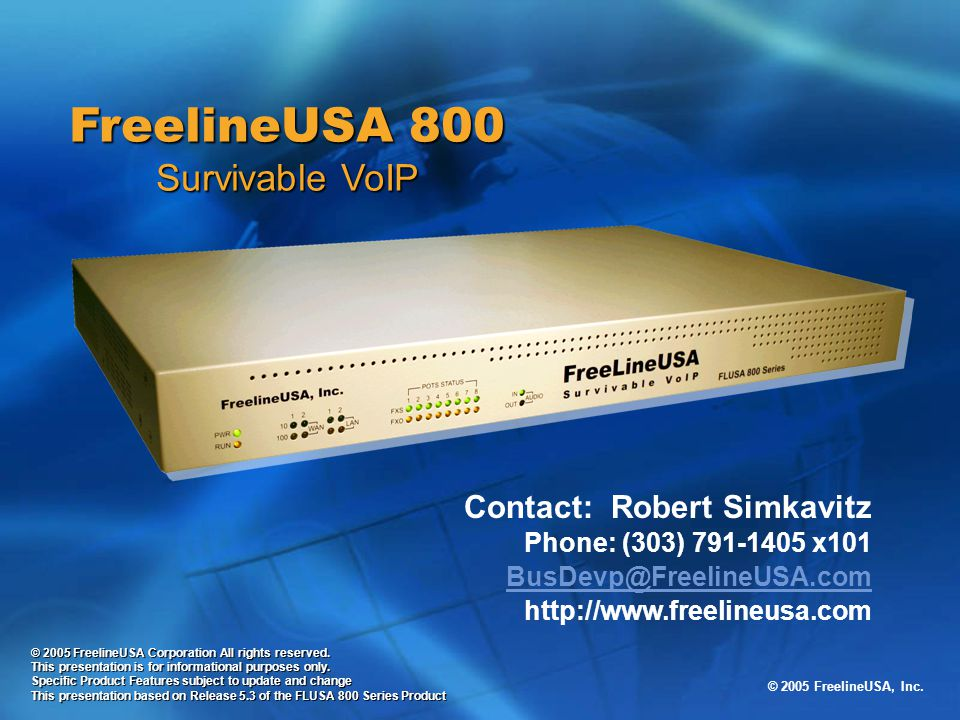 FreelineUSA 800 Survivable VoIP