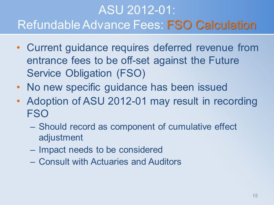 ASU 2012-01: Refundable Advance Fees: FSO Calculation